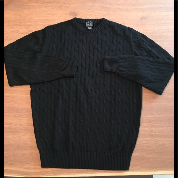 Jos A Bank Sweaters Mens Josabank Black Cable Knit Crew Sweater